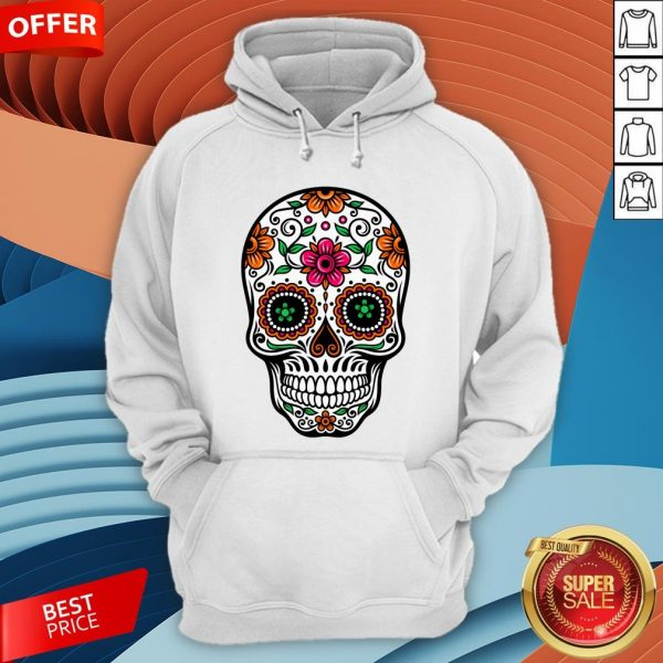 Colorful Sugar Skull And Retro Flowers Day Of The Dead Hoodie