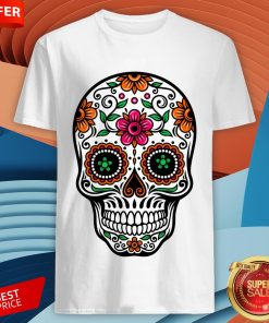 Colorful Sugar Skull And Retro Flowers Day Of The Dead Shirt