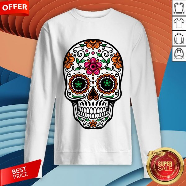 Colorful Sugar Skull And Retro Flowers Day Of The Dead Sweatshirt