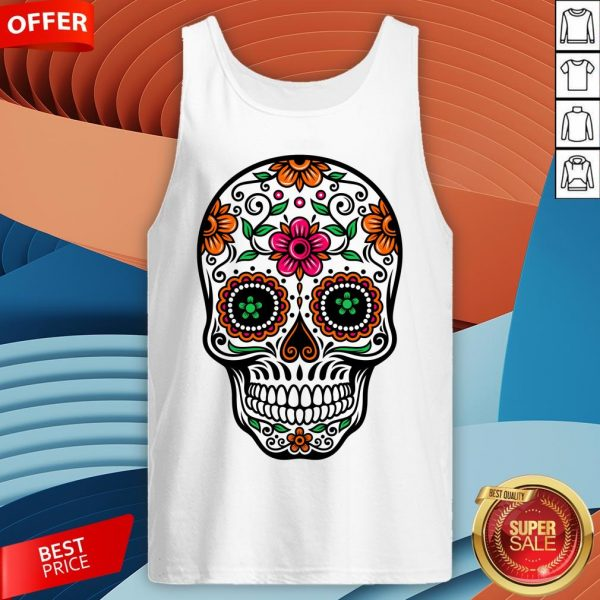 Colorful Sugar Skull And Retro FlowerColorful Sugar Skull And Retro Flowers Day Of The Dead Tank Tops Day Of The Dead Tank Top