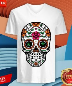 Colorful Sugar Skull And Retro Flowers Day Of The Dead V-neckColorful Sugar Skull And Retro Flowers Day Of The Dead V-neck