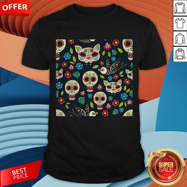 Cute Sugar Skulls Day Of The Dead Dia De Muertos T-Shirt