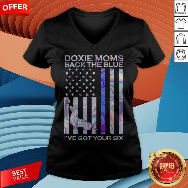 Daschund Dixie Moms Back The Blue I've Got Your Six American Flag V-neck
