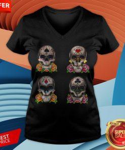 Day Of The Dead Dia De Los Muertos Sugar Skulls Aces V-neck