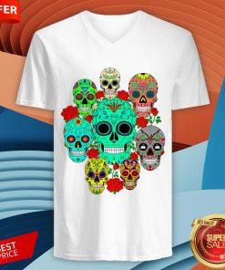 Day Of The Dead Dia De Los Muertos Sugar Skulls Galore V-neck