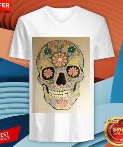 Day Of The Dead Sugar Skull Flower Heaven V-neck
