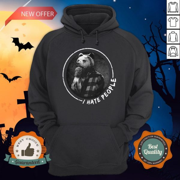Halloween Bear Beard I Hate People Hoodie