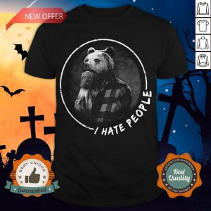 Halloween Bear Beard I Hate People Shirt