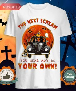 Halloween Cat Riding Car The Next Scream You Hear May Be Your Own Sunset Shirt