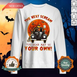 Halloween Cat Riding Car The Next Scream You Hear May Be Your Own Sunset Sweatshirt
