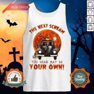 Halloween Cat Riding Car The Next Scream You Hear May Be Your Own Sunset Tank Top
