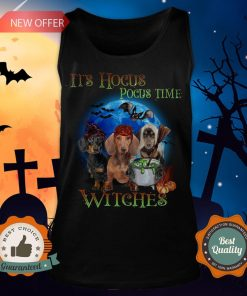 Halloween Dachshund It's Hocus Pocus Time Witches Tank Top