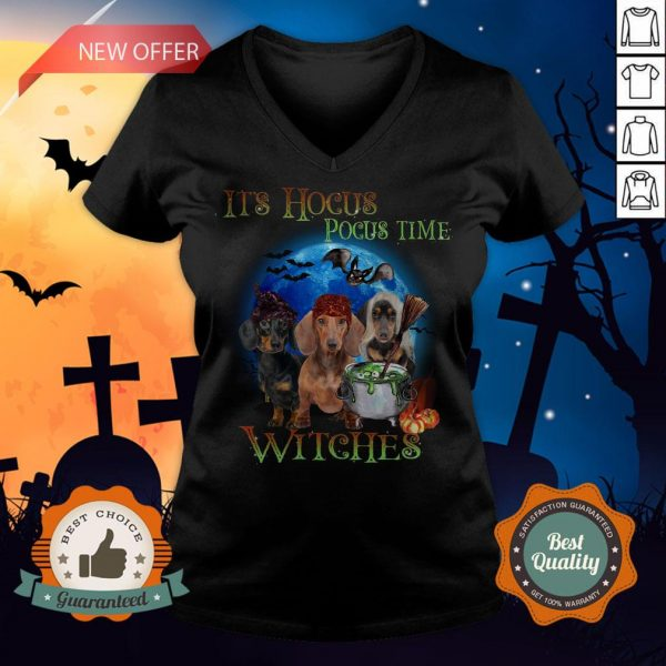 Halloween Dachshund It's Hocus Pocus Time Witches V-neck