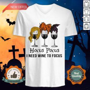 Halloween Hocus Pocus I Need Wine To Focus V-neck
