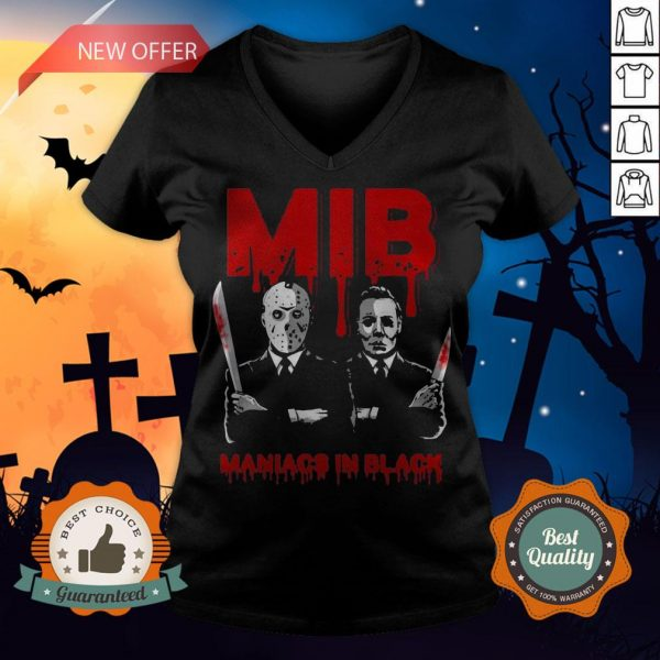 Halloween Jason Voorhees And Freddy Krueger Mib Maniacs In Black V-neck