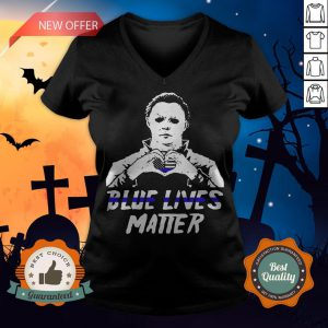 Halloween Michael Myers Blue Lives Matter American Flag Independence Day V-neck