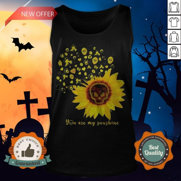 Halloween Michael Myers Sunflower Skull You Are My Sunshine Tank Top