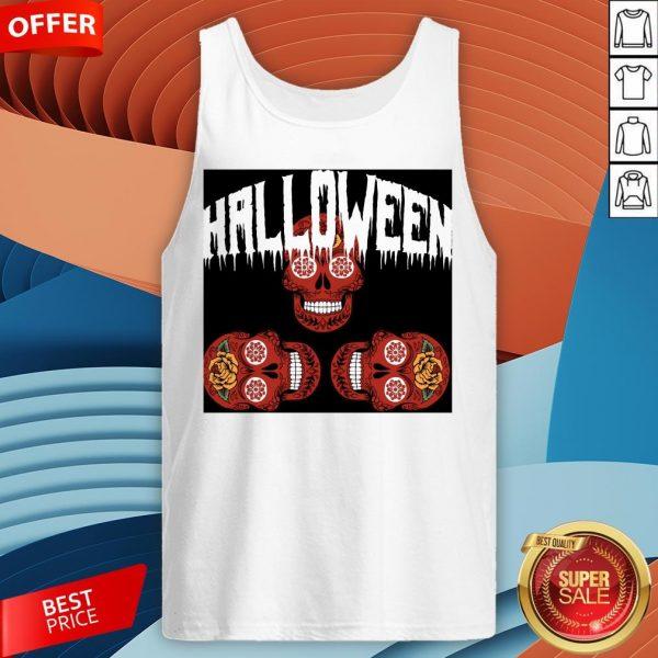 Halloween Smiling Sugar Skulls Day Dead Dia De Muertos Tank Top