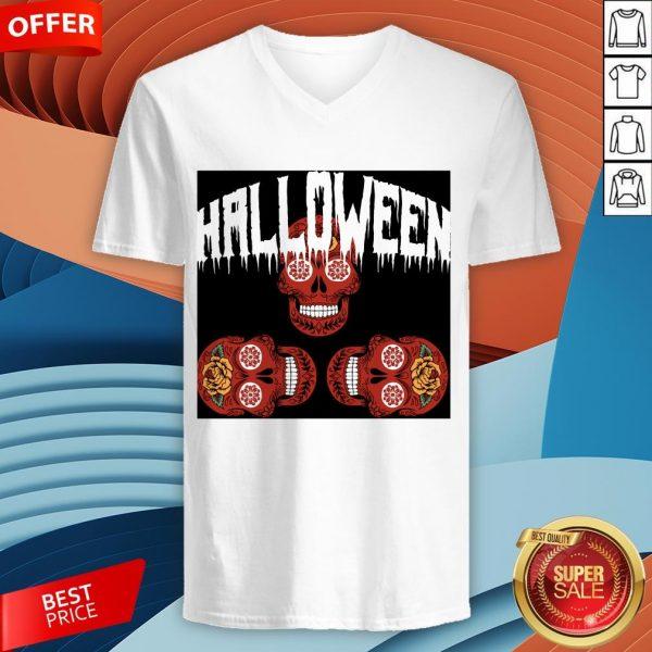Halloween Smiling Sugar Skulls Day Dead Dia De Muertos V-neck