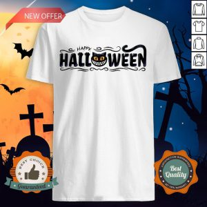 Happy Halloween Women Men Black Cat Pumpkin Face T-Shirt