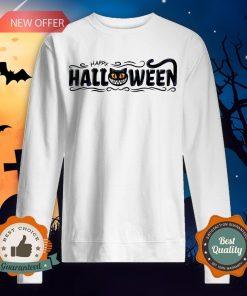 Happy Halloween Women Men Black Cat Pumpkin Face T-Sweatshirt