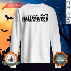 Happy Halloween Women Men Black Cat Pumpkin Face T-Sweatshirt