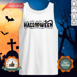 Happy Halloween Women Men Black Cat Pumpkin Face T-Tank TopHappy Halloween Women Men Black Cat Pumpkin Face T-Tank Top