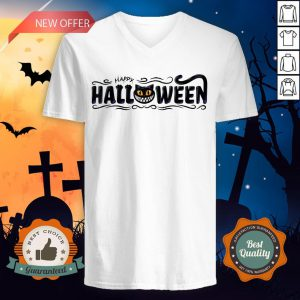 Happy Halloween Women Men Black Cat Pumpkin Face T-V-neck