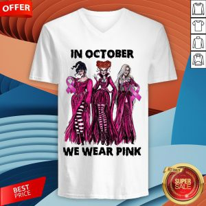 Hocus Pocus Breast Cancer Awareness In October We Wear Pink Halloween V-neck