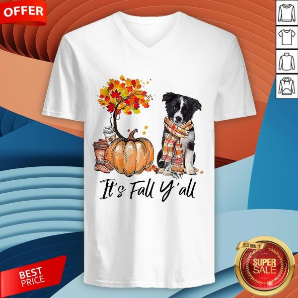 It's Fall Y'all Border Collie Dog Halloween V-neck