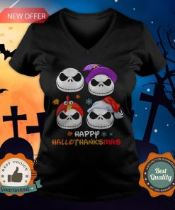 Jack Skellington Happy Hallothanksmas V-neck