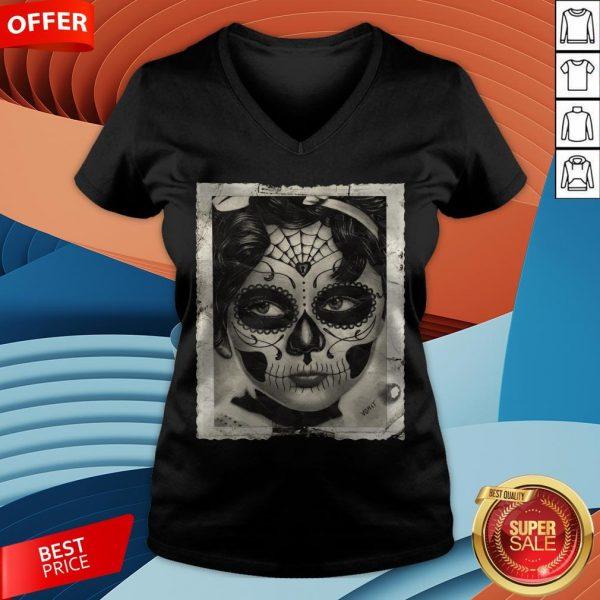 Little Girl Makeup Skull Day Of The Dead V-neck