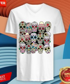 Mexican Day Of The Dead Sugar Skulls V-neck