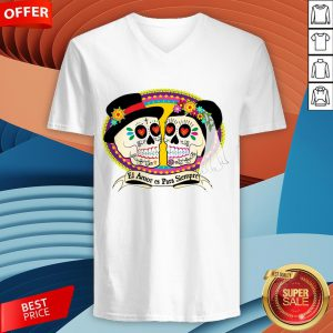 Mexican Sugar Skulls Wedding Couple Love Is Forever V-neck