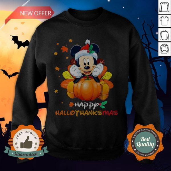 Mickey Mouse Pumpkin Happy Hallothanksmas Sweatshirt