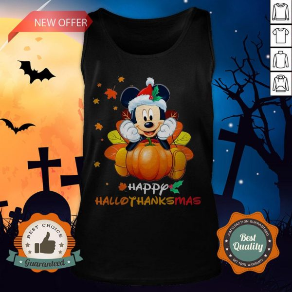 Mickey Mouse Pumpkin Happy Hallothanksmas Tank Top