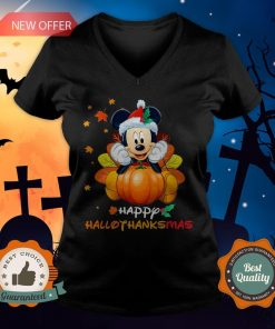 Mickey Mouse Pumpkin Happy Hallothanksmas V-neck
