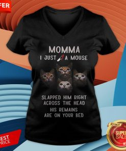 Momma I Just A Mouse Slapped Him Right Across The Head His Remains Are On Your Bed V-neck