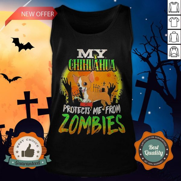 My Chihuahua Protects Me from Zombies Halloween Tank Top