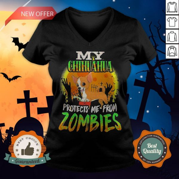 My Chihuahua Protects Me from Zombies Halloween V-neck