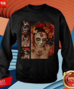 Nice Girl Makeup Skull Dia De Los Muertos - Day Of The Dead Sweatshirt