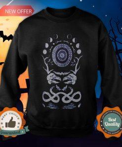 Rabbit Skull Antler Black Zip T-Sweatshirt