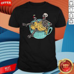 Skeleton Drinking Coffee Dia De Los Muertos Day Dead Halloween Shirt