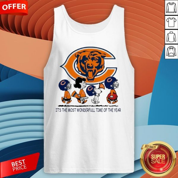 Snoopy And Friends Chicago Bears It's The Most Wonderful Time Of The Year Tank Top