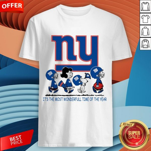 Snoopy And Friends New York Giants It's The Most Wonderful Time Of The Year Shirt