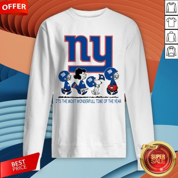 Snoopy And Friends New York Giants It's The Most Wonderful Time Of The Year Sweatshirt