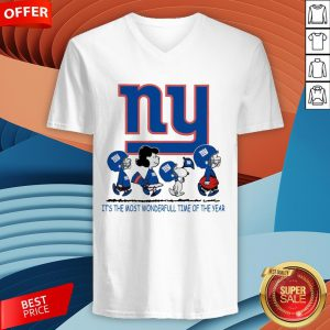 Snoopy And Friends New York Giants It's The Most Wonderful Time Of The Year V-neck