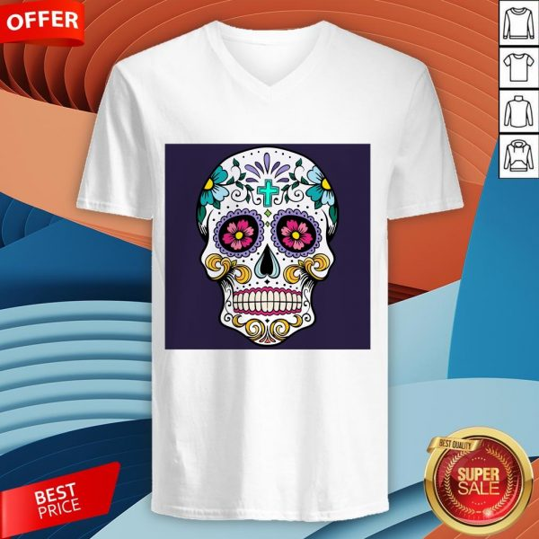 Sugar Candy Skulls Day Of The Dead T-V-neck