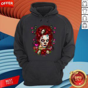 Sugar Doll Red Dia De Muertos T-Hoodie
