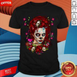 Sugar Doll Red Dia De Muertos T-Shirt